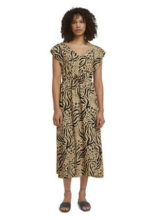 jurk met all over print beige/zwart