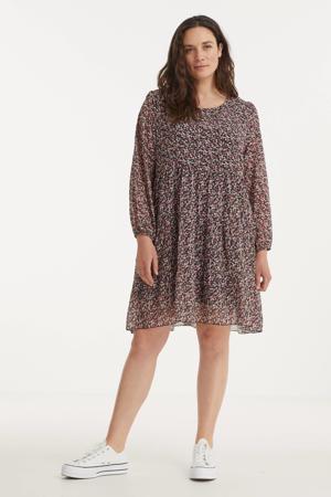 gebloemde semi-transparante trapeze jurk Agneta zwart/roze/wit