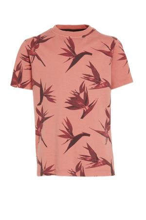 T-shirt Hippi van biologisch katoen koraalrood