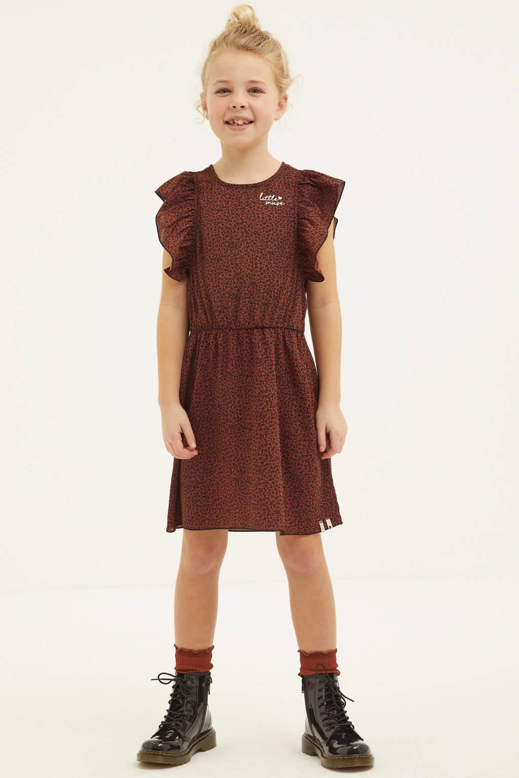 LOOXS little jurk met panterprint en ruches bruin/zwart, Bruin/zwart