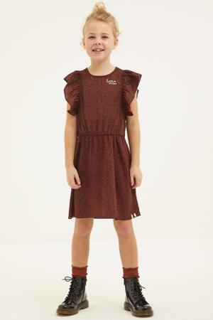 jurk met panterprint en ruches bruin/zwart