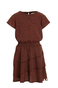 LOOXS 10sixteen jurk met panterprint en ruches bruin/zwart, Bruin/zwart