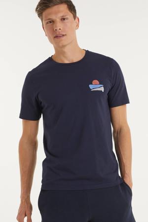 T-shirt Jaames sunset van biologisch katoen marine