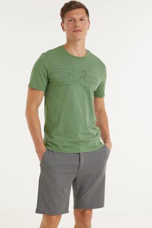T-shirt Jaames smooth bike van biologisch katoen groen