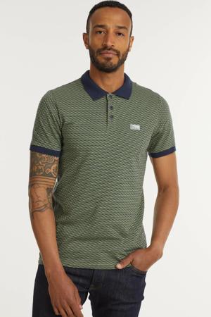 slim fit polo Shape met contrastbies groen/donkerblauw