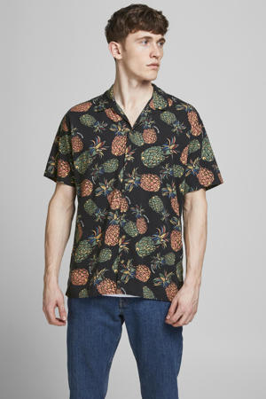 slim fit overhemd JORTROPICANA RESORT met all over print donkerblauw