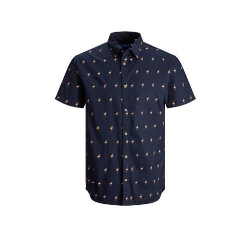 JACK & JONES ORIGINALS regular fit overhemd Poolside met all over print navy blazer