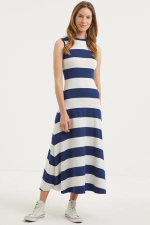 gestreepte maxi jurk blauw/wit