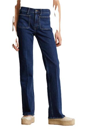 high waist flared jeans dark indigo