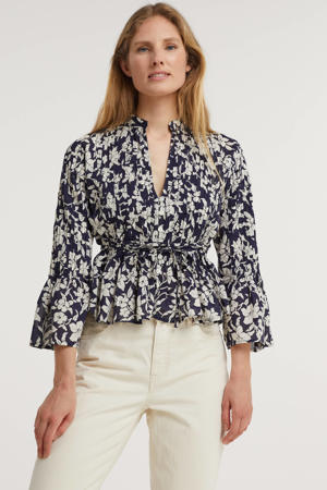 blouse met all over print en ceintuur donkerblauw/ecru
