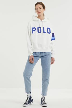 hoodie met logo wit/blauw