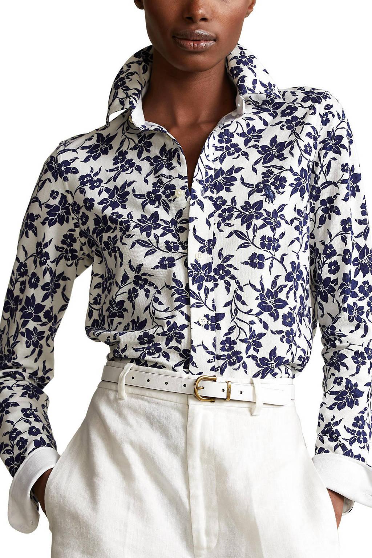 POLO Ralph Lauren blouse met all over print ivoor/marine