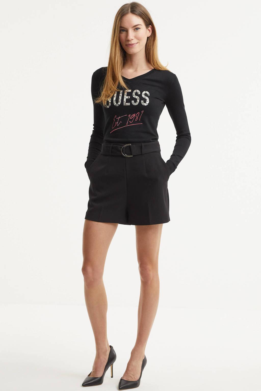 GUESS high waist loose fit short zwart, Zwart