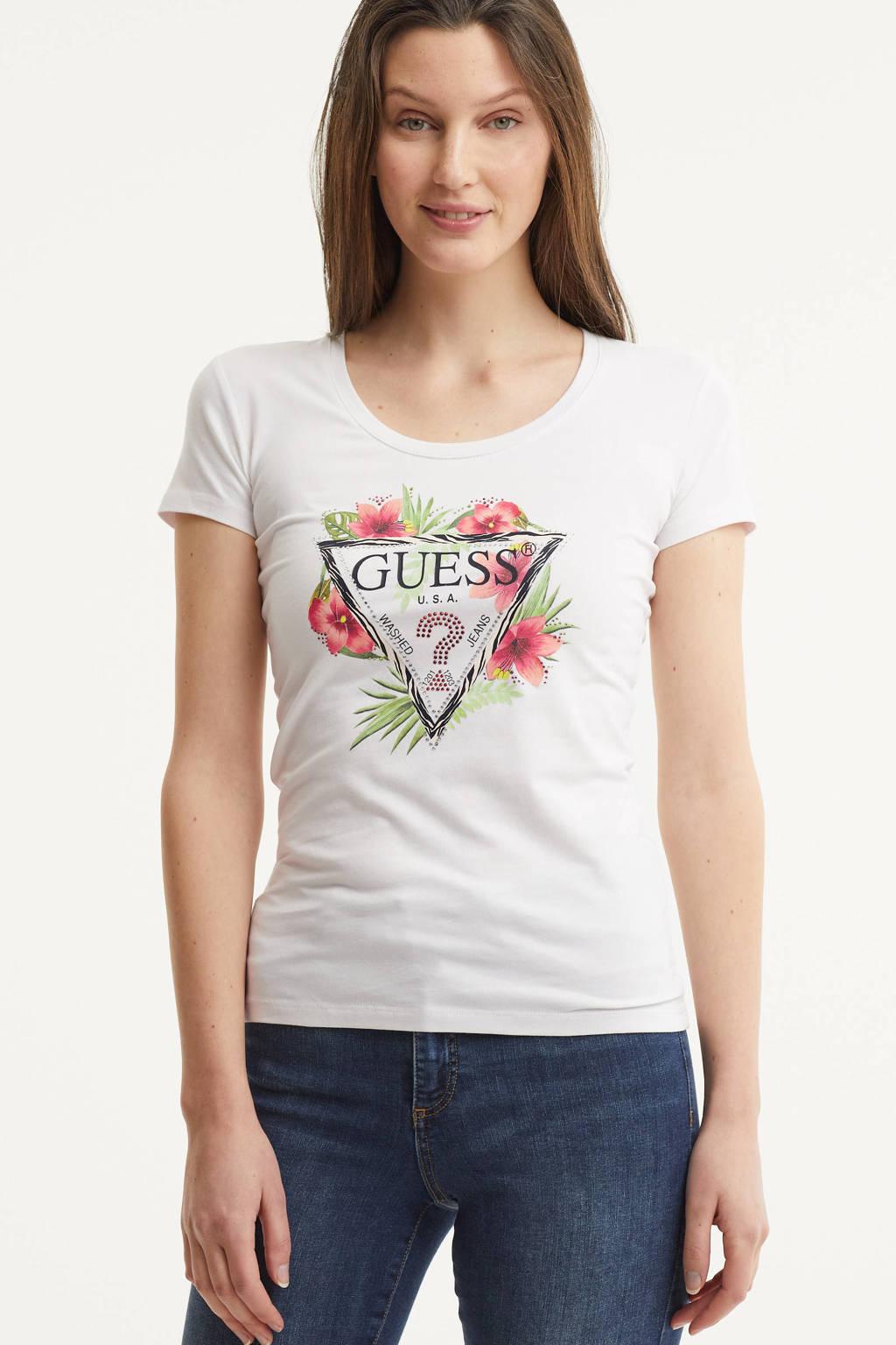 GUESS T-shirt met printopdruk wit, Wit