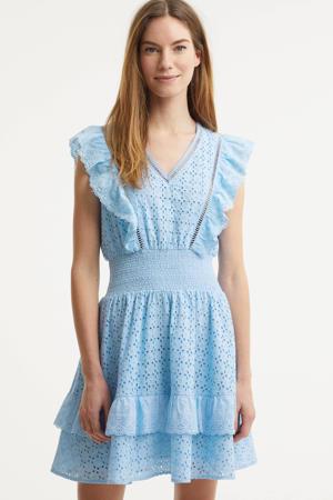 A-lijn jurk met volant blauw