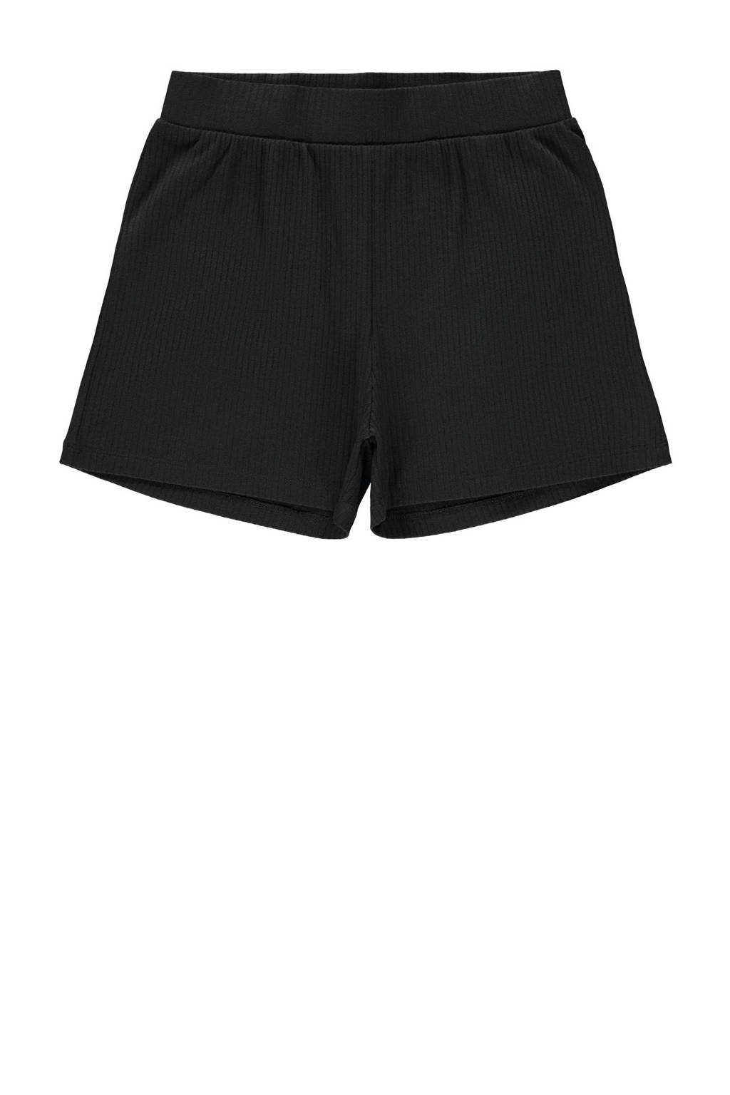 LMTD regular fit short Nunne met textuur zwart, Zwart