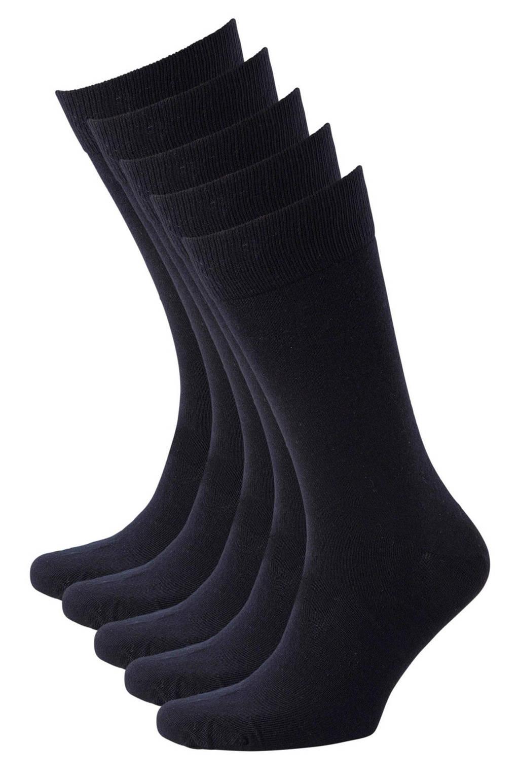 anytime sokken - set van 5 donkerblauw, Donkerblauw