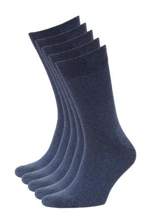 sokken - set van 5 denimblauw