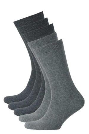 sokken biologisch katoen - set van 5 grijs