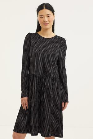 A-lijn jurk met stippen zwart/wit