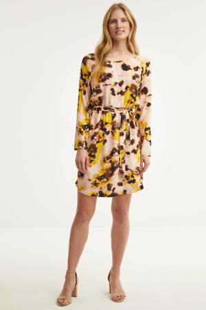 jurk met all over print roze/geel