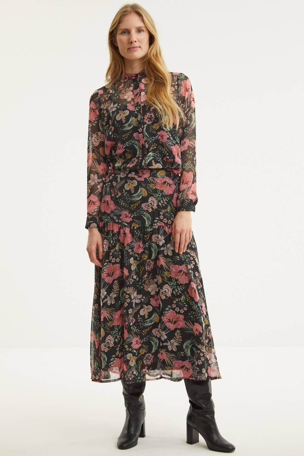 ICHI gebloemde semi-transparante blouse zwart/multi, Zwart/multi