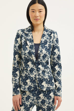 blazer met all over print blauw