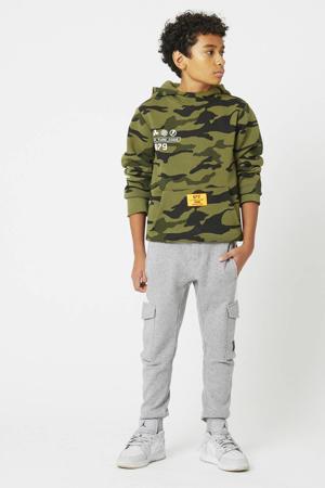 hoodie Sil met camouflageprint legrgroen