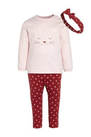 baby sweater + broek + hoofdbank roze/rood