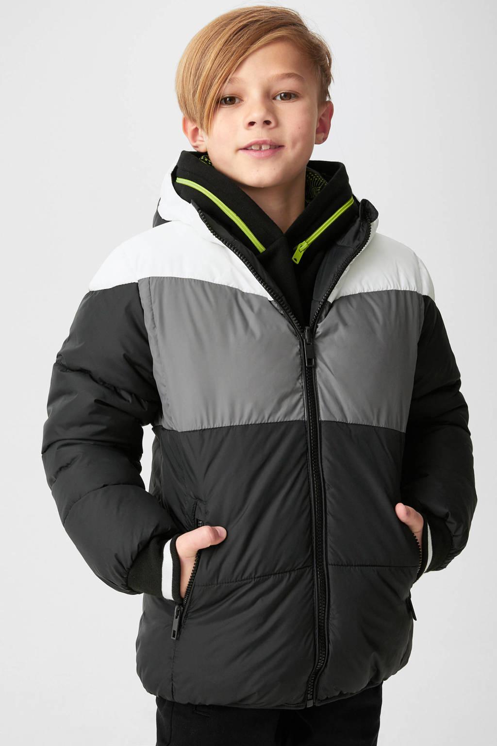 C&A Here & There gewatteerde jas zwart/grijs/wit, Zwart/grijs/wit