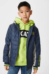 C&A Here & There gewatteerde jas donkerblauw/grijs/groen, Donkerblauw/grijs/groen