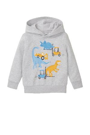 hoodie met printopdruk grijs melange/geel/blauw