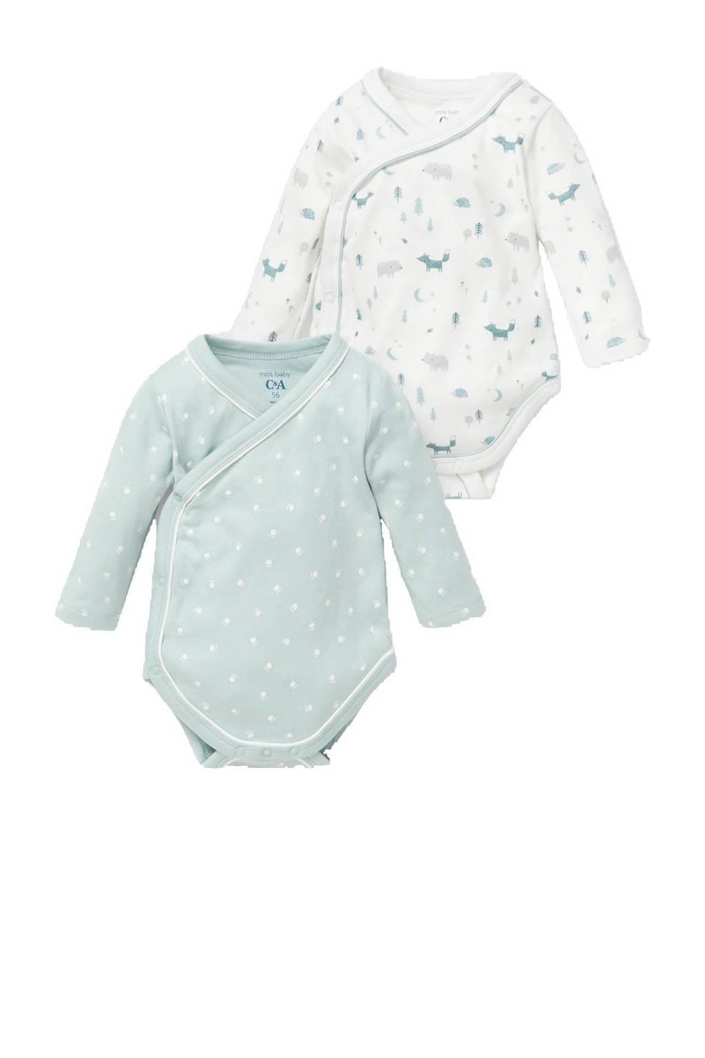 C&A Baby Newborn C&A Baby Newborn set van 2 - blauw/wit, Blauw/wit