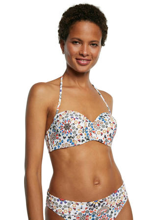 strapless bandeau bikinitop met all over print wit/multi