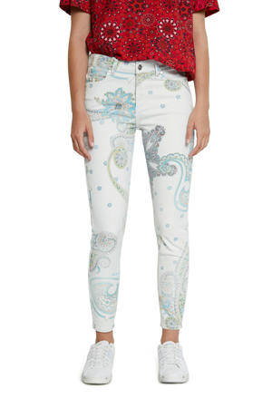 slim fit broek met all over print wit/blauw