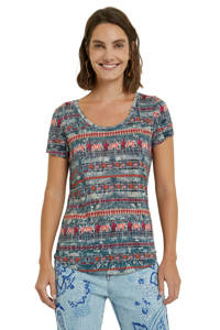 Desigual T-shirt met all over print blauw/rood/oranje, Blauw/rood/oranje