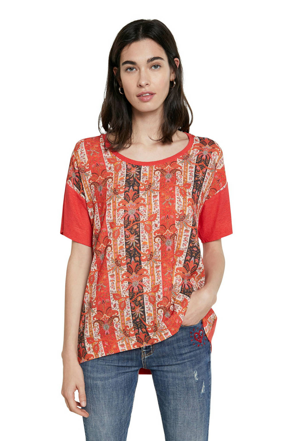 Desigual T-shirt met all over print rood/roze, Rood/roze