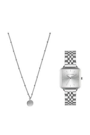 giftset Dawn horloge en ketting - VH90023 zilverkleurig