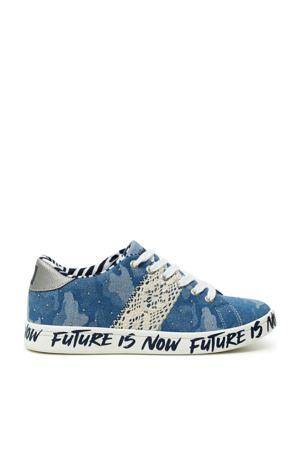 denim sneakers met studs blauw