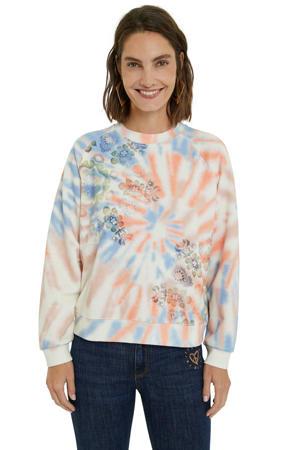 tie-dye sweater wit/oranje/blauw