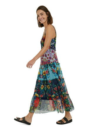 semi-transparante trapeze jurk met all over print en ruches multicolor