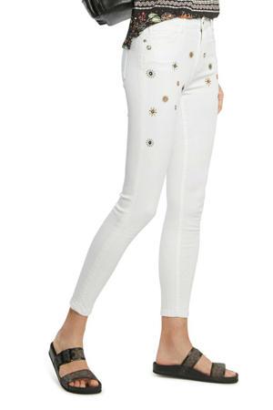 skinny broek met borduursels wit