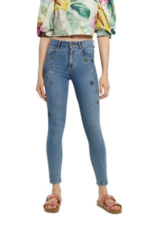 skinny broek met borduursels blauw