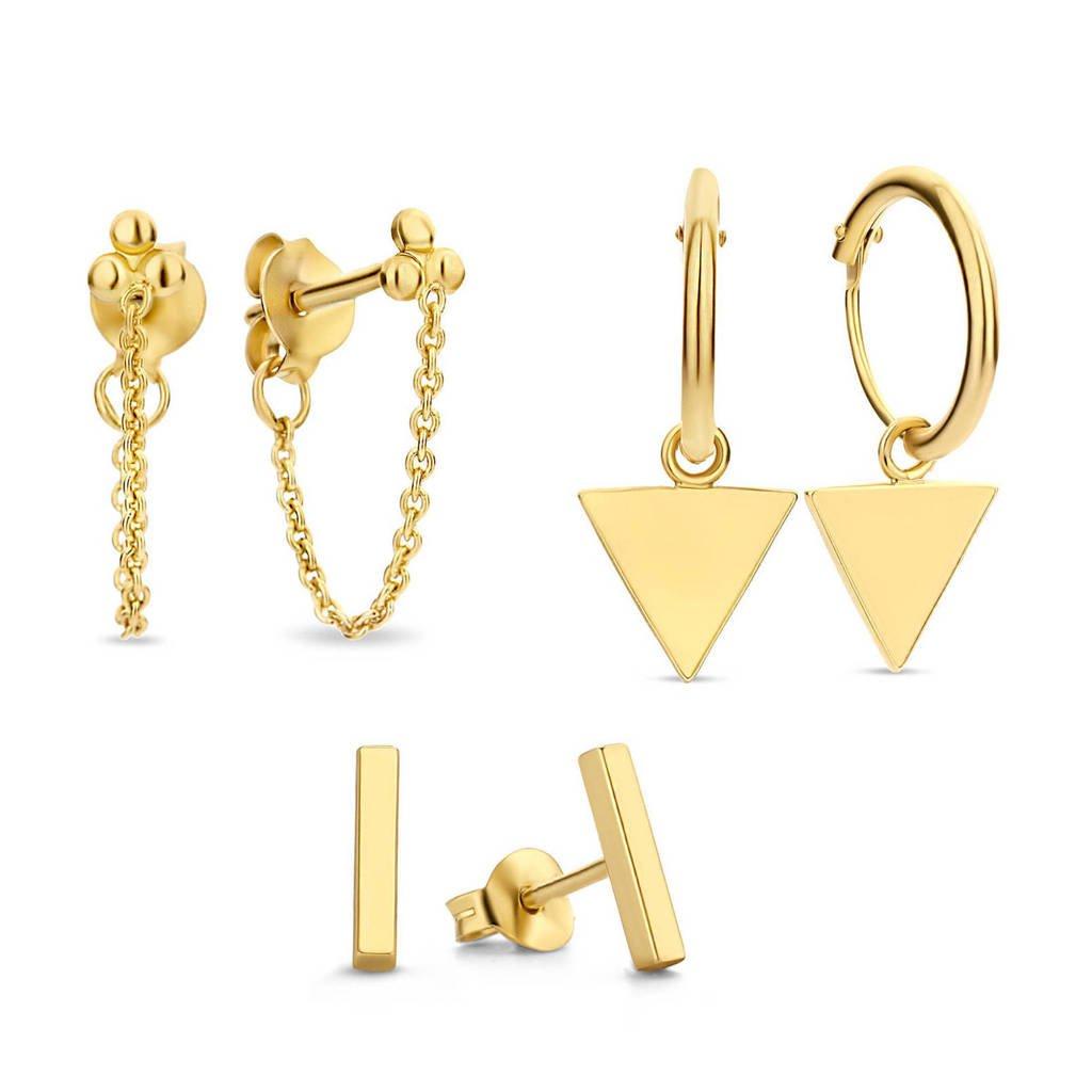Selected Jewels sterling zilveren oorbellen SJSET380001 - set van 3 goudkleurig, Goudkleurig
