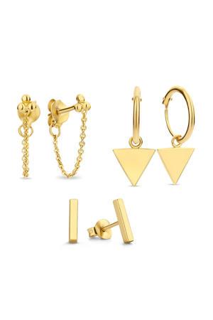 sterling zilveren oorbellen SJSET380001 - set van 3 goudkleurig