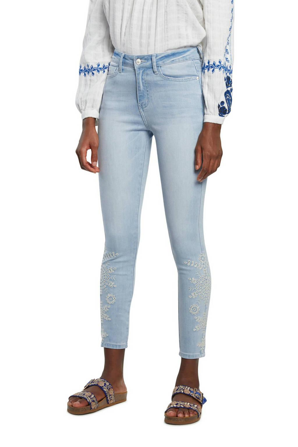Desigual skinny jeans met borduursels lichtblauw, Lichtblauw