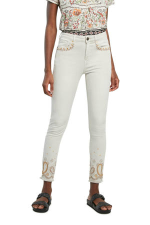 cropped skinny broek met borduursels wit