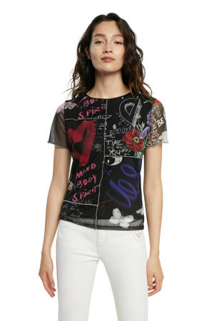 semi-transparant T-shirt met all over print zwart/multi