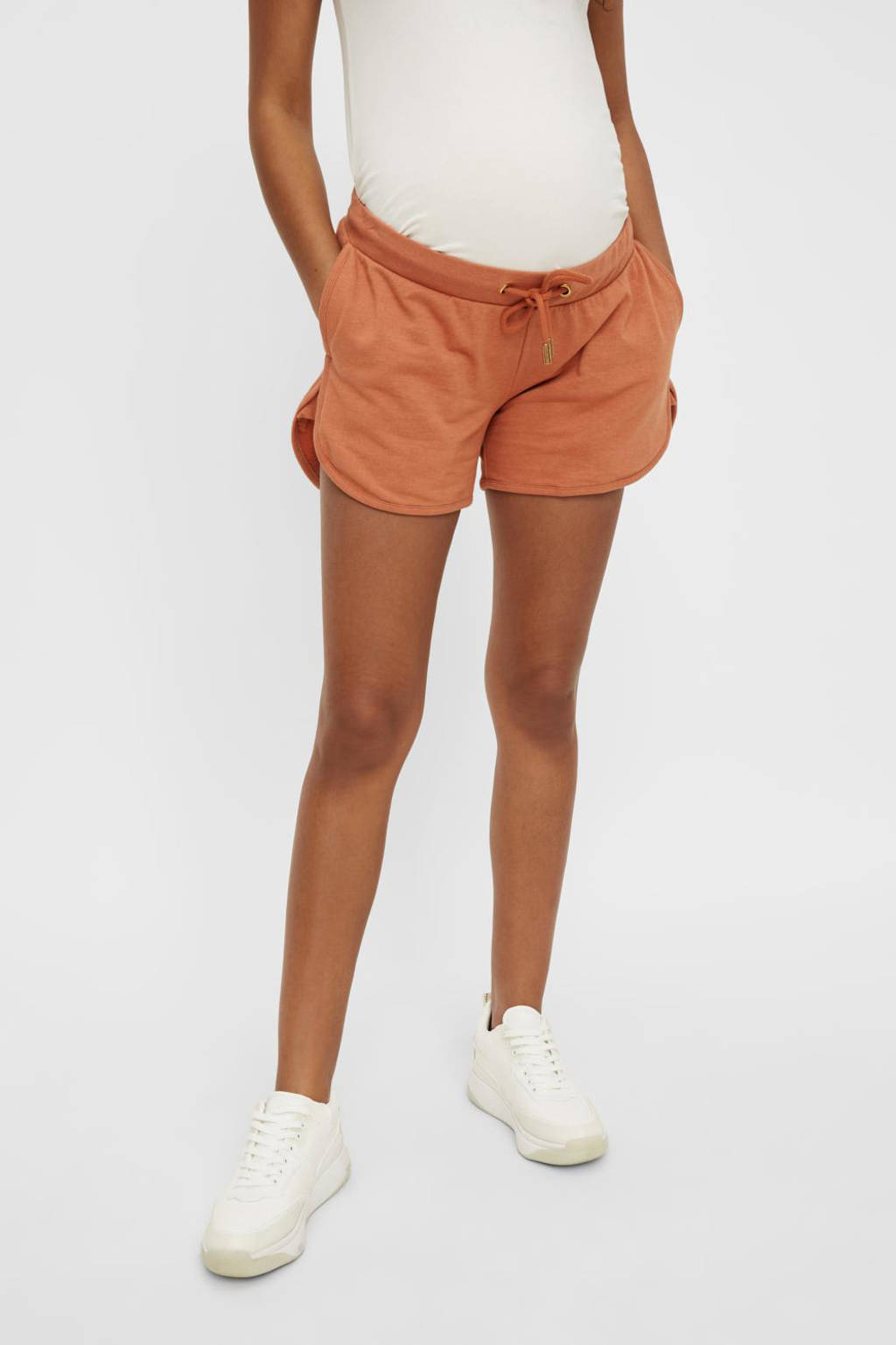 MAMALICIOUS low waist wide leg zwangerschapssweatshort Geggo met biologisch katoen bruin, Bruin