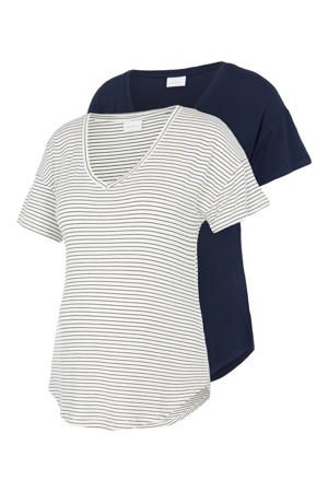 T-shirt - set van 2 Alison donkerblauw/wit